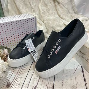 Superga platform black leather 2790 sneaker NWT